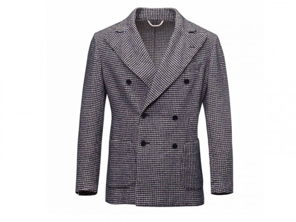 G. Inglese navy white houndstooth double breasted blazer - personal shopper stylist for men