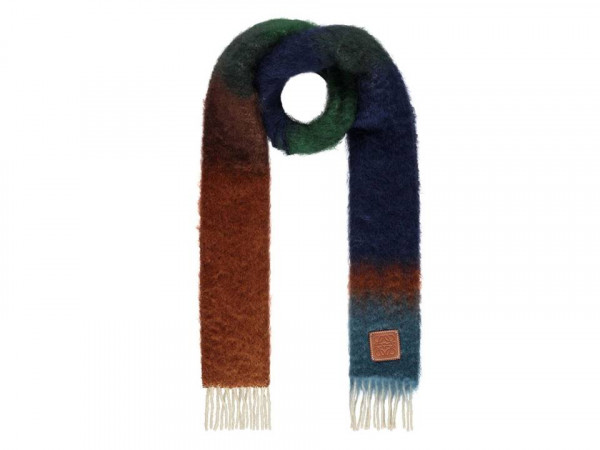 Loewe brown and green striped scarf at Flannels